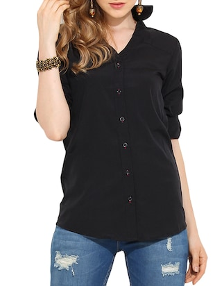 black polyester regular shirt
