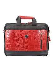 Textured Black And Red Leather Laptop Bag - ADAMIS