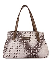 Woven Textured Brown Hand Bag - Lino Perros
