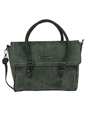 Buckle Lace Flap Green Hand Bag - Lino Perros