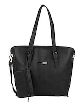 Zip Closure Black Single Pocket Hand Bag - Lino Perros