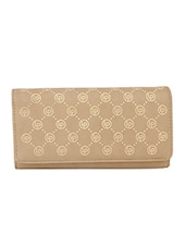 Printed Fold Over Beige Purse - Lino Perros