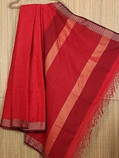 Red Handwoven Cotton Silk Saree - NFTSSLTD