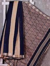 Beige And Navy Blue Jacquard Cotton Silk Saree - NFTSSLTD