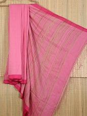 Pink Handwoven Cotton Silk Saree - NFTSSLTD