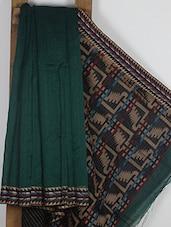 Dark Green Handwoven Cotton Silk Saree - NFTSSLTD
