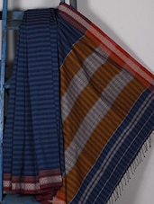 Striped Navy Blue Handwoven Cotton Silk Saree - NFTSSLTD