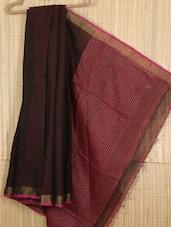 Black Handwoven Cotton Silk Saree - NFTSSLTD