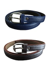 Brown, Blue Leatherette Combos Belt - By