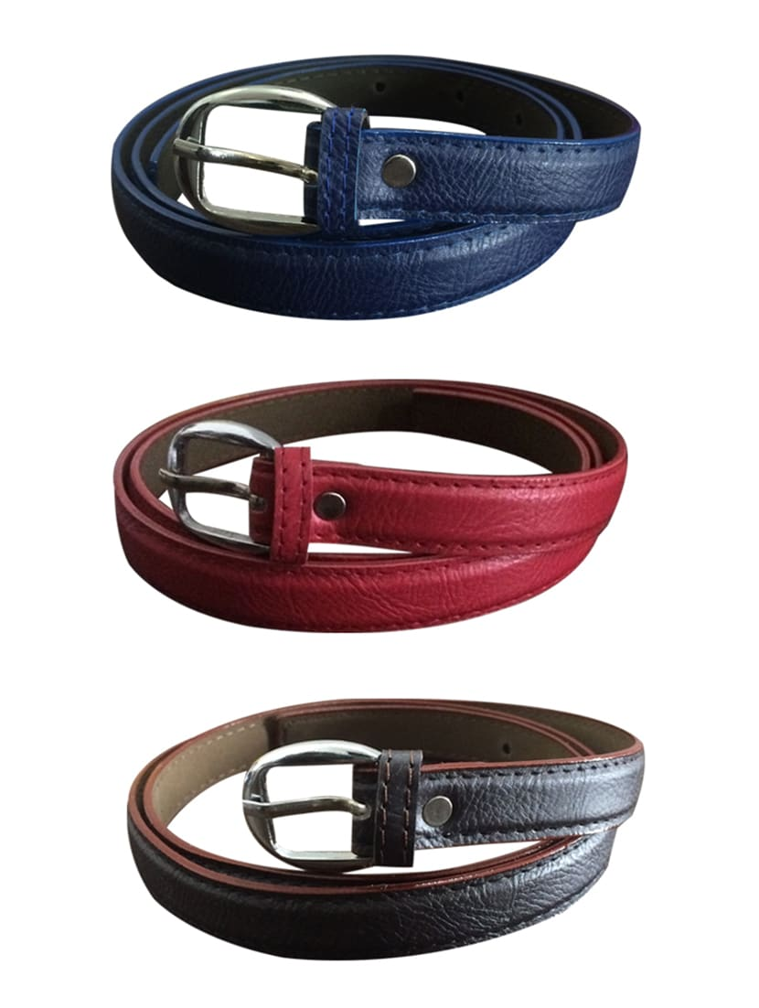 Brown, Red, Blue Leatherette Combos Belt - By