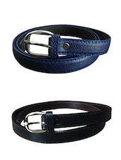 Blue, Black Leatherette Combos Belt - By
