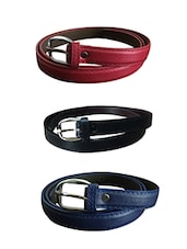 Red, Black, Blue Leatherette Combos Belt - By