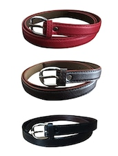 Red, Brown, Black Leatherette Combos Belt - By