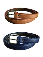 Beige, Blue Leatherette Combos Belt - By