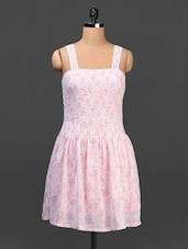 Pink Floral Print Fit & Flare Dress - Urban Helsinki