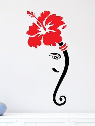 Lord Ganesha With Flower on Head Small Black Wall sticker