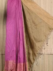 Pink And Gold Raw Silk Saree - Cotton Koleksi