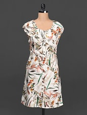 Printed Round Neck Crepe Dress - Ayaany