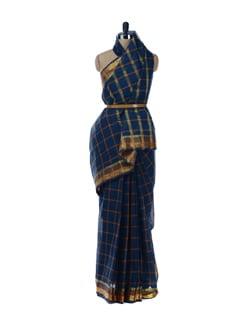 Blue-orange Check Print Saree - Platinum Sarees