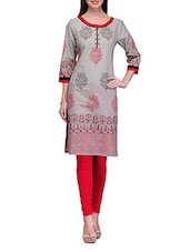 Block Printed Quarter Sleeve Cotton Kurta - Tulsattva
