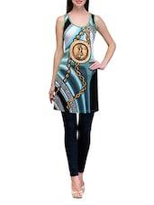Round Neck Digital Print Cotton Knit Dress - Tulsattva