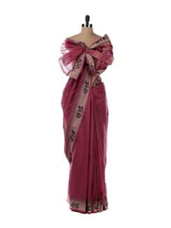 Pink Saree With Beige Border - Platinum Sarees