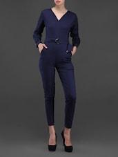 Navy-blue Long Sleeves Jumpsuit With Waist Belt - Liebemode