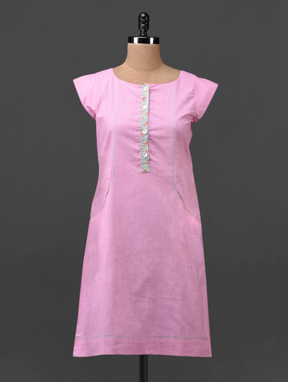Pink Plain Solid Cotton Linen Tunic - Tissu
