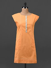Orange Plain Solid Cotton Linen Tunic - Tissu