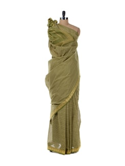 Green Saree With Golden Border - Platinum Sarees