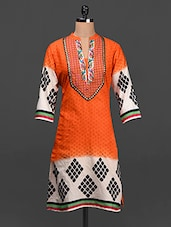 Quarter Sleeves Printed Cotton Kurta - SHREE