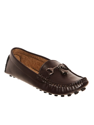 coffee leatherette loafers
