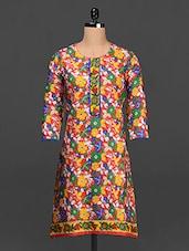 Floral Print Round Neck Cotton Kurta - SHREE
