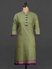 Green Quarter Sleeves Cotton Kurta - SHREE
