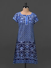 Blue Printed Short Sleeves Cotton Kurti - MOTIF