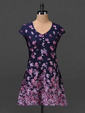 Navy Blue Floral Print Crepe Tunic - MOTIF