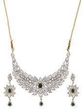 American Diamond Embellished Floral Leaf Necklace Set - ESmartdeals