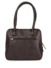 Dark Brown Leather Shoulder Bag - HIDESIGN