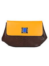 Dark Brown And Yellow Crocodile Leather Clutch - HIDESIGN