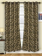 Liza Leaf Printed Polyester Door Curtain (pack Of 2) - Deco Curtain