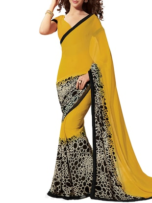 yellow faux georgette half and saree with blouse