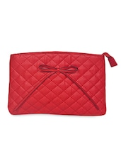 Red Faux Leather Sling Bag With Bow - Bern