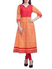 Orange,red Cotton A Line Kurta - By