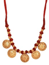 Gold And Red Handcrafted Geru Engraved Necklace - By