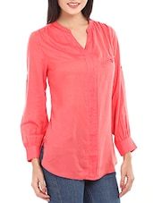 Coral Red Long Sleeves Viscose Top - Mustard