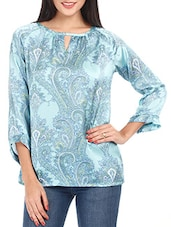 Blue Printed Polyester Top - Mustard