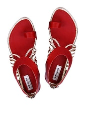 Red Sandals With Back Zipper - Soft & Sleek