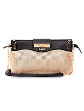 Gold Leatherette Cutwork Detailed Sling Bag - LavieWomen
