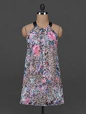 Backless Halter Neck Georgette Dress - AHE