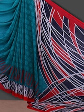 Abstract Printed Pally Blue Georgette Saree - Bunny Sarees